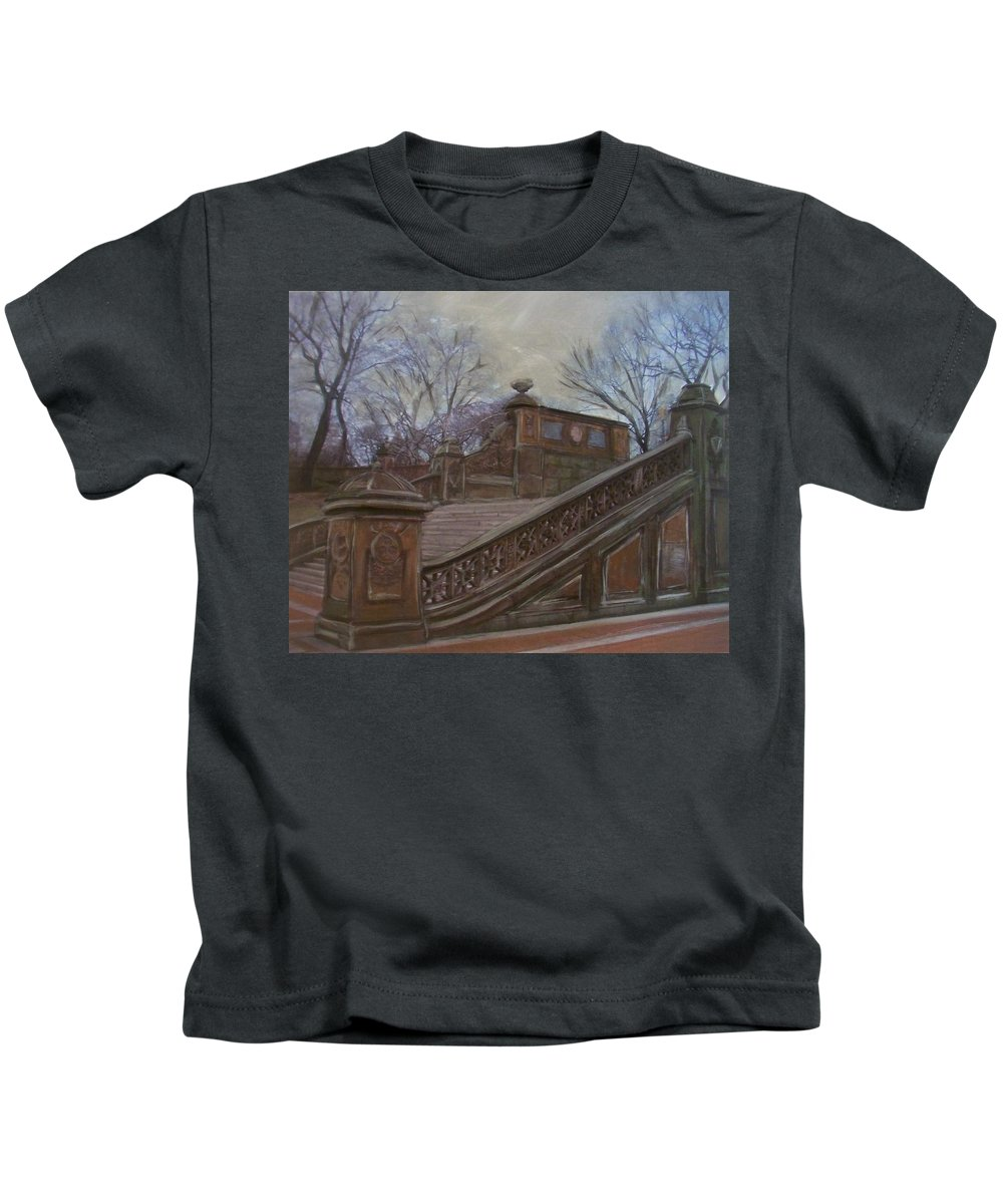 Central Park Kids T-Shirt featuring the painting Central Park Bethesda Staircase by Anita Burgermeister