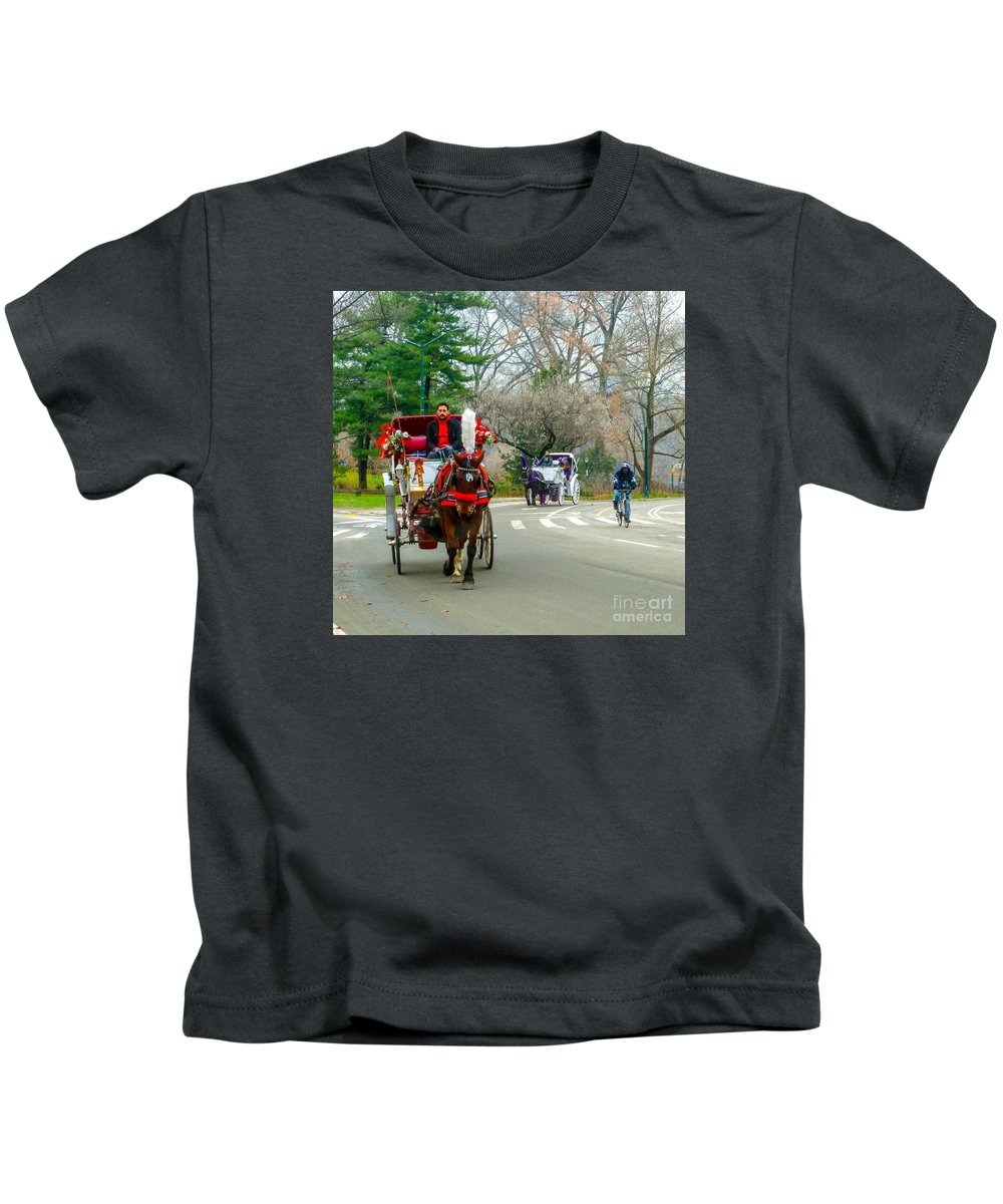 This Is A Photo Of A Couple Horse And Buggy Rides In Central Park New York City. Kids T-Shirt featuring the photograph Central Park Horse And Buggy Rides New York City by William Rogers