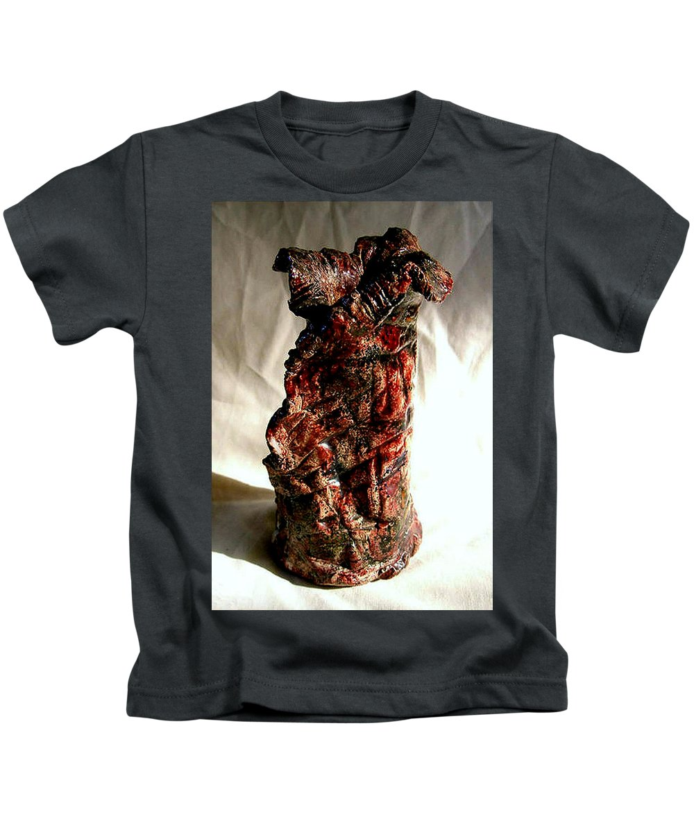 Ceramic Kids T-Shirt featuring the ceramic art Ceramic Red Vase by Madalena Lobao-Tello