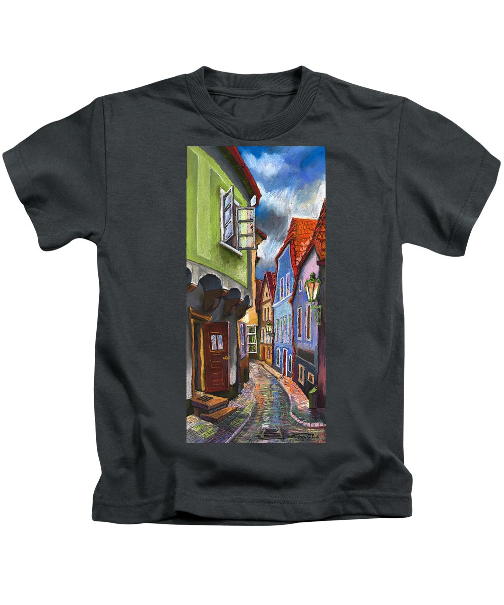 Pastel Chesky Krumlov Old Street Architectur Kids T-Shirt featuring the painting Cesky Krumlov Old Street 1 by Yuriy Shevchuk