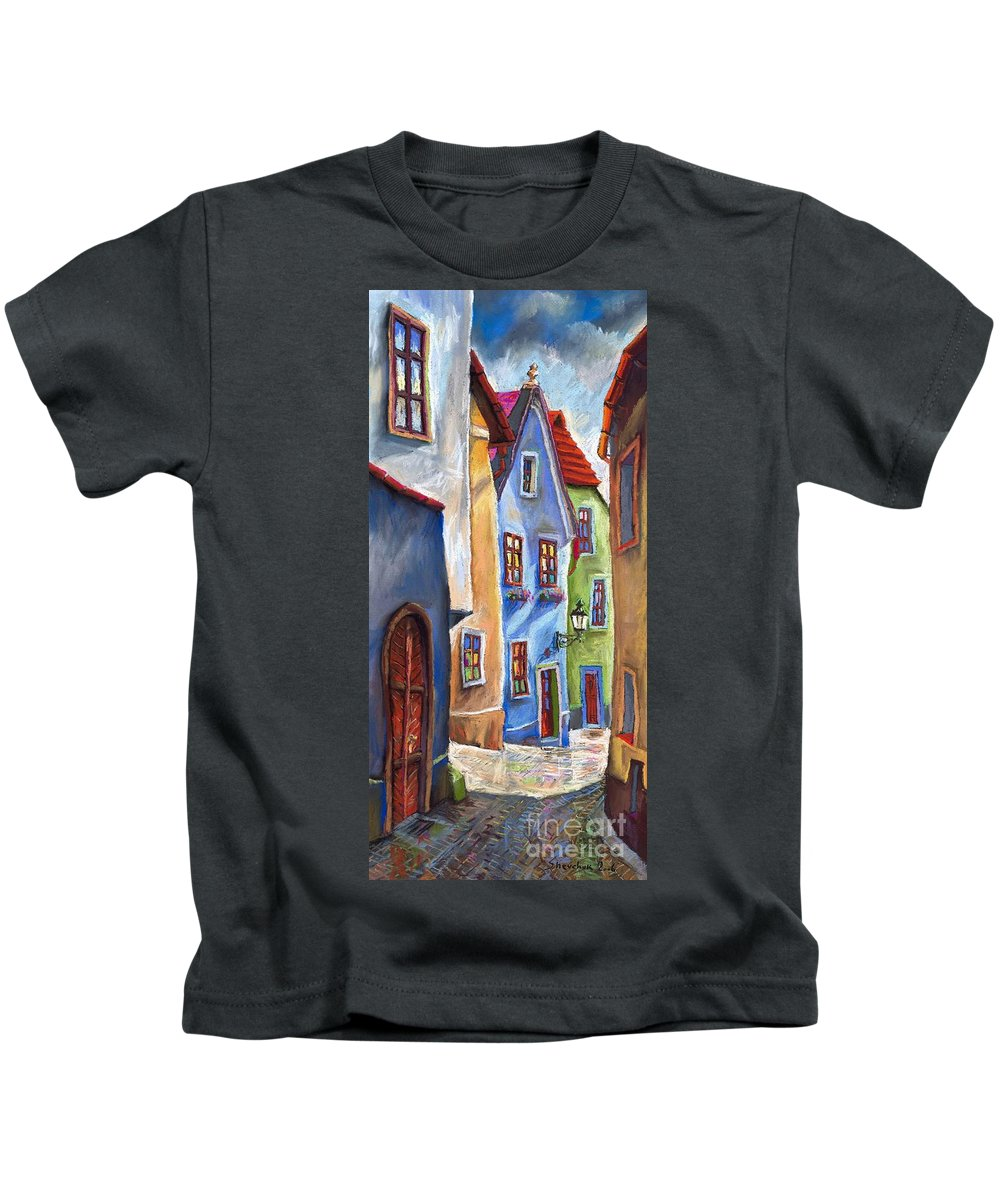 Cityscape Kids T-Shirt featuring the painting Cesky Krumlov Old Street by Yuriy Shevchuk