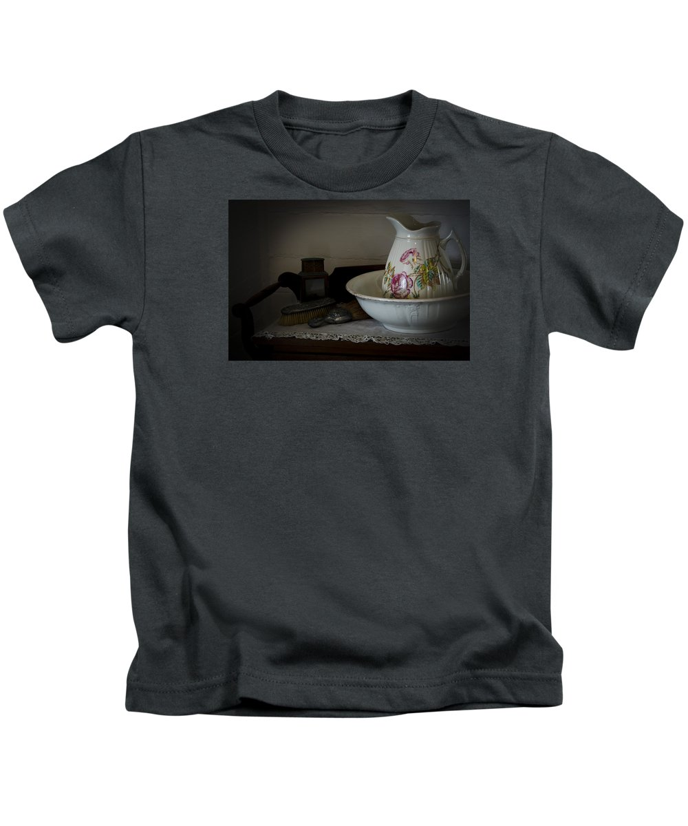 Aged Kids T-Shirt featuring the photograph Chamber Pitcher With Basin 2 by Karen Hanley Colbert