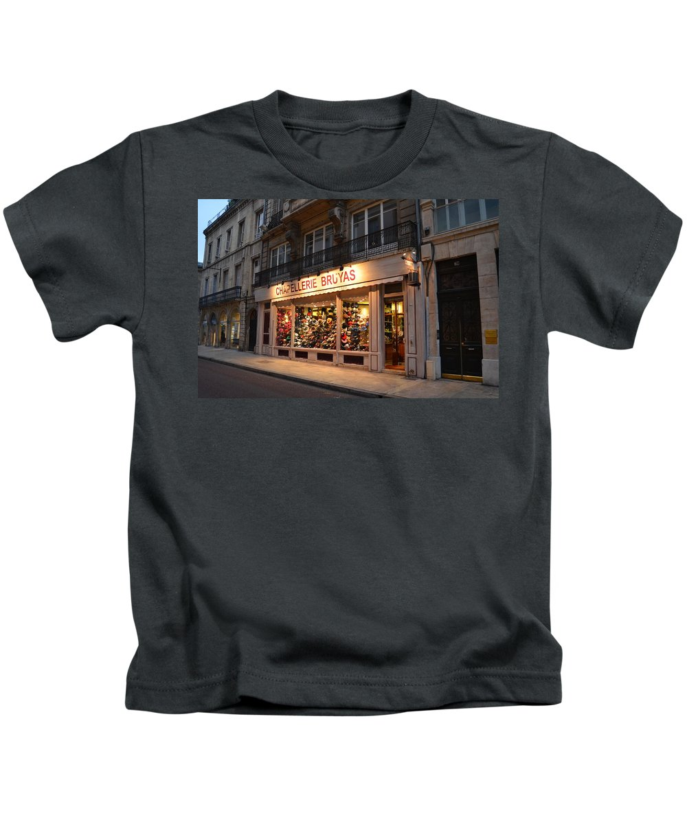 Chapellerie Bruyas Kids T-Shirt featuring the photograph Chapellerie Bruyas Hat Store by Dawn Crichton