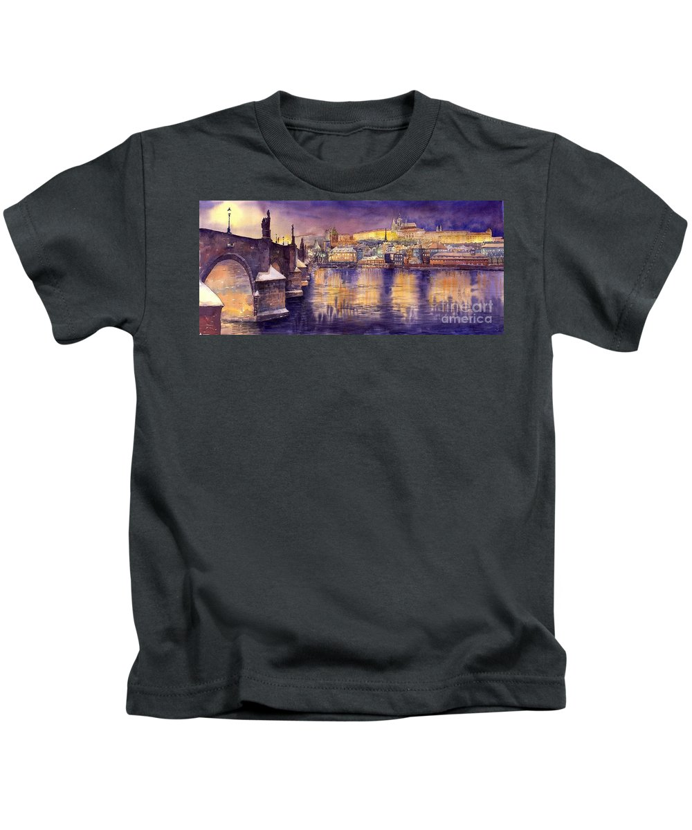 Cityscape Kids T-Shirt featuring the painting Charles Bridge And Prague Castle With The Vltava River by Yuriy Shevchuk
