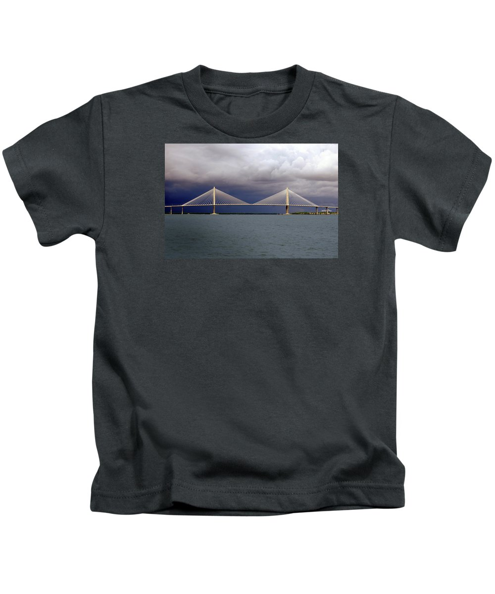 Span Kids T-Shirt featuring the photograph Charleston Ravenel Bridge by Skip Willits