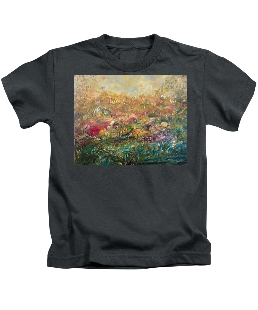 Impressionistic Abstract Kids T-Shirt featuring the painting Charming Chasms Series Fall Frolic by Sara Credito