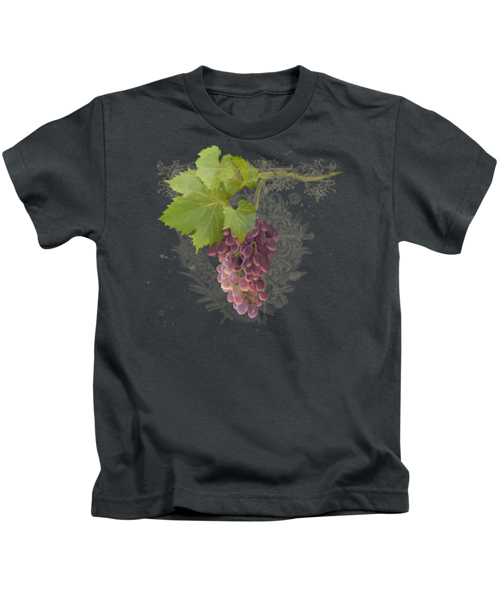 Pinot Noir Kids T-Shirt featuring the tapestry - textile Chateau Pinot Noir Vineyards - Vintage Style by Audrey Jeanne Roberts