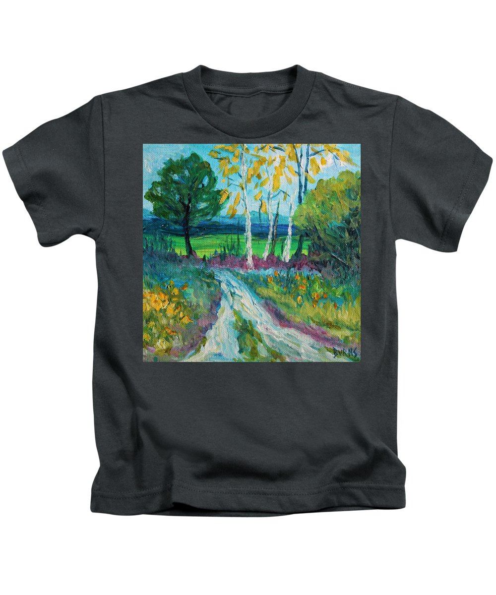 Painting Kids T-Shirt featuring the painting Cheerful Path by Christopher Burns