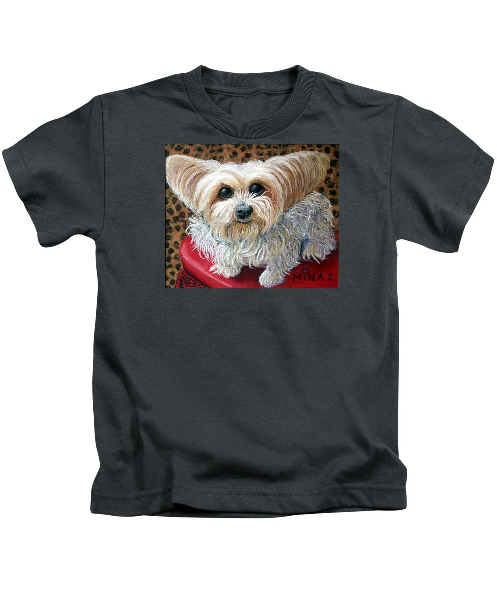 Dog Kids T-Shirt featuring the painting My Friend by Minaz Jantz