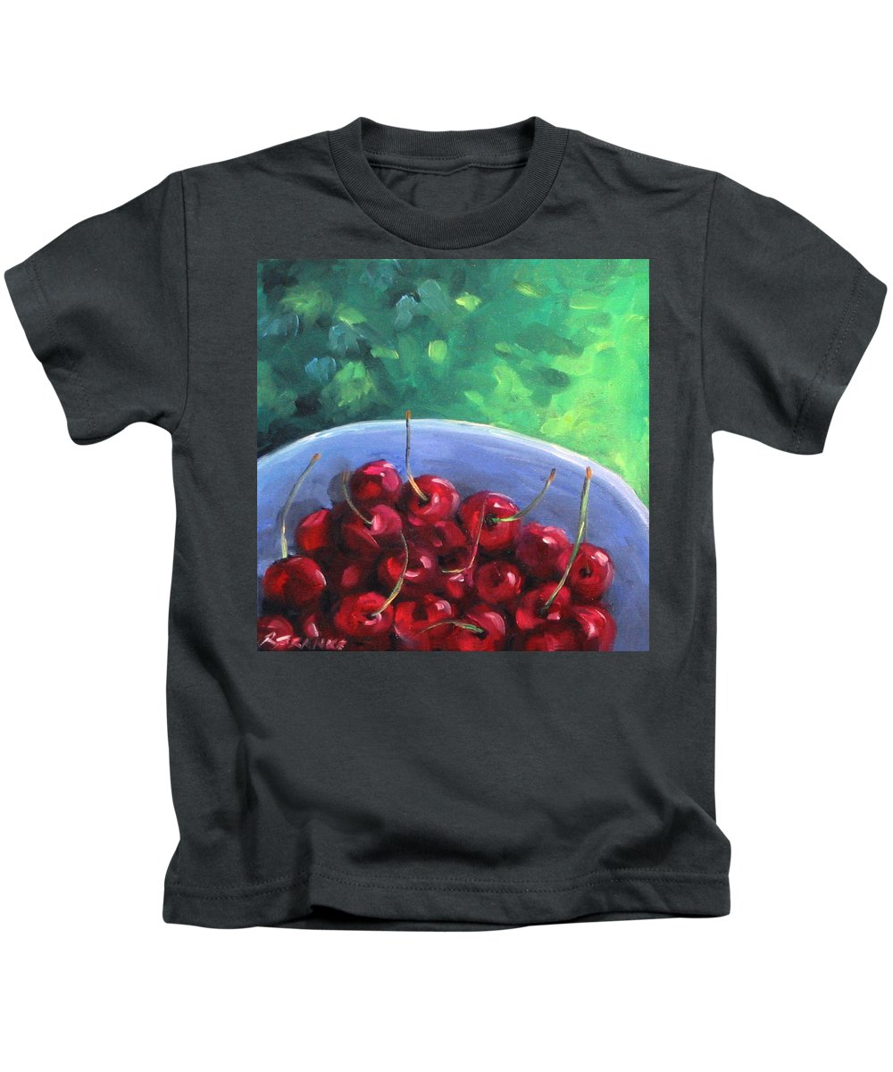Art Kids T-Shirt featuring the painting Cherries On A Blue Plate by Richard T Pranke