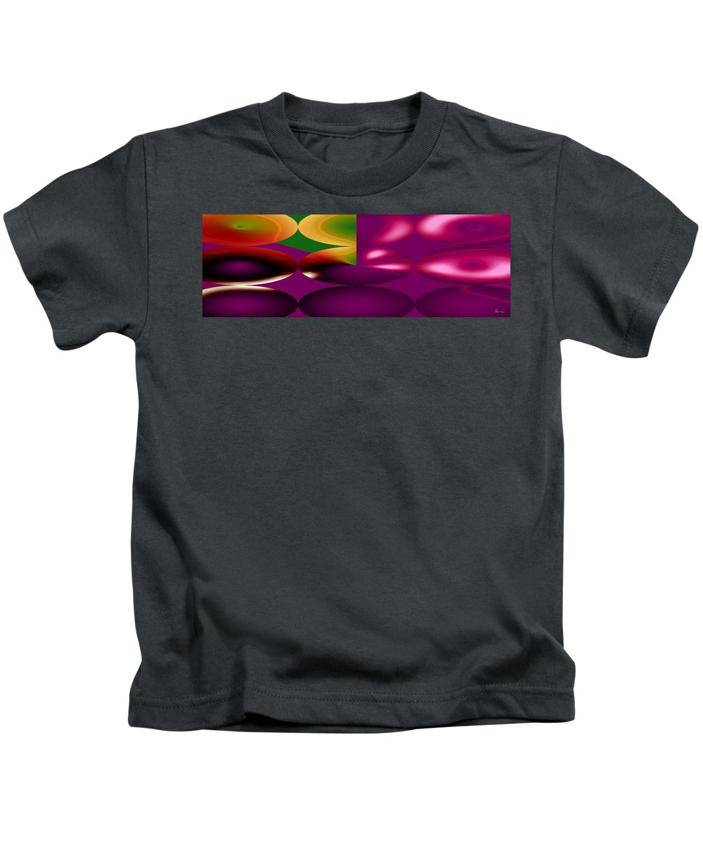 Cherry Cherries Fruit Abstract Orange Purple Green Food Plants Kids T-Shirt featuring the digital art Cherry by Andrea Lawrence