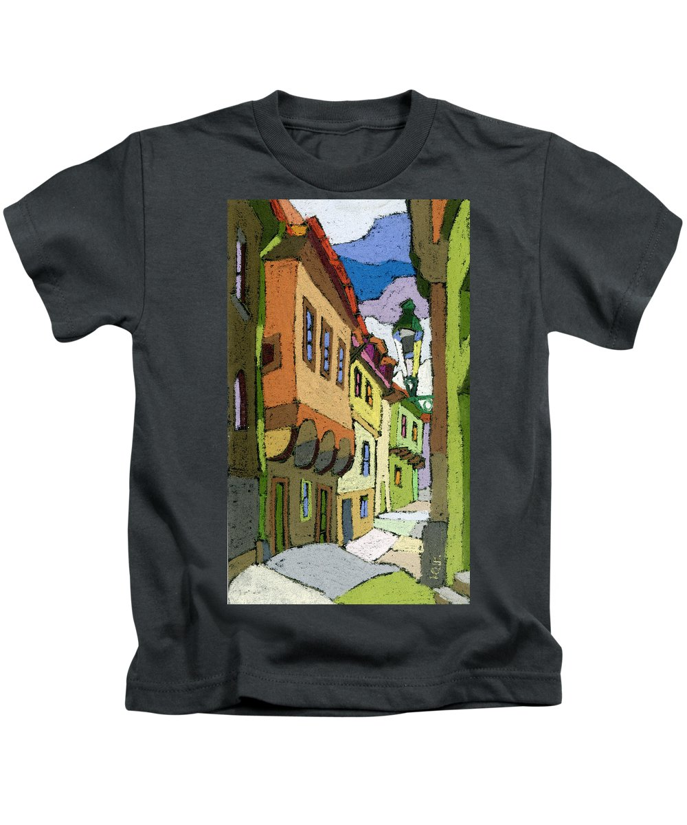 Pastel Kids T-Shirt featuring the painting Chesky Krumlov Street Nove Mesto by Yuriy Shevchuk