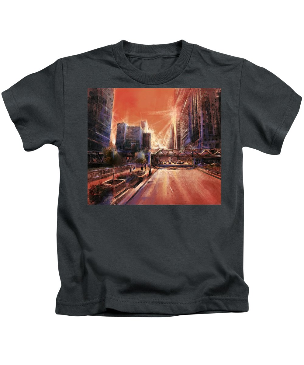 Chicago Skyline Kids T-Shirt featuring the painting Chicaco Street 3 by Bekim M
