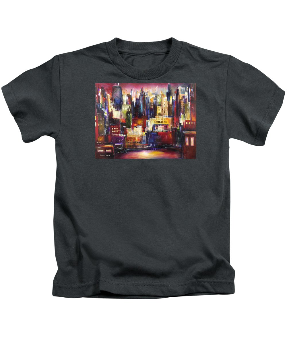 Chicago Art Kids T-Shirt featuring the painting Chicago City View by Kathleen Patrick