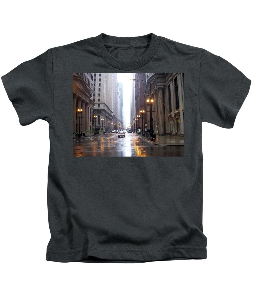 Chicago Kids T-Shirt featuring the photograph Chicago In The Rain by Anita Burgermeister