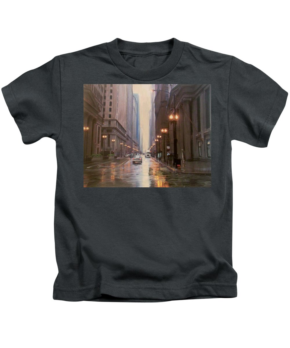 Chicago Kids T-Shirt featuring the painting Chicago Rainy Street by Anita Burgermeister
