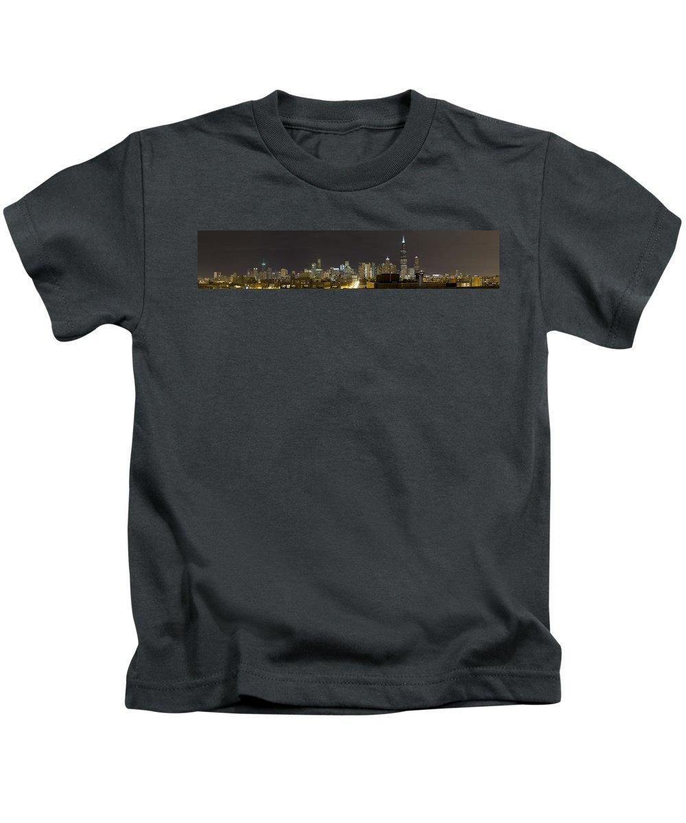City Sky Skyline Wind Windy Windycity Il Chicago Night Dark Light Lights Street Building Tall House Kids T-Shirt featuring the photograph Chicago Skyline by Andrei Shliakhau