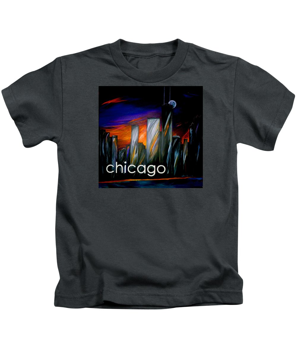 City Kids T-Shirt featuring the painting Chicago Skyline by Jean Habeck