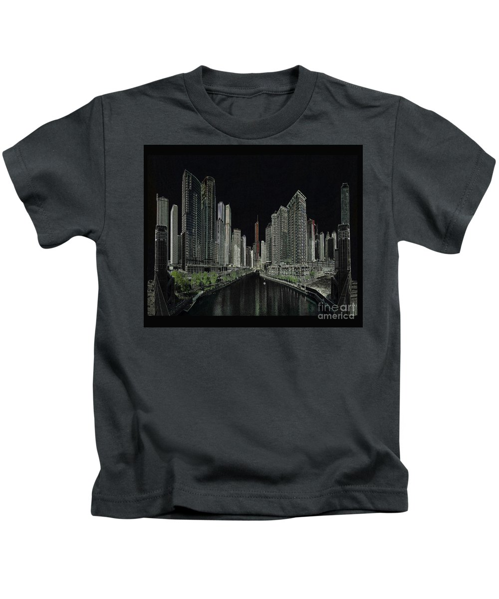 Chicago Kids T-Shirt featuring the digital art Chicago by Steven Parker