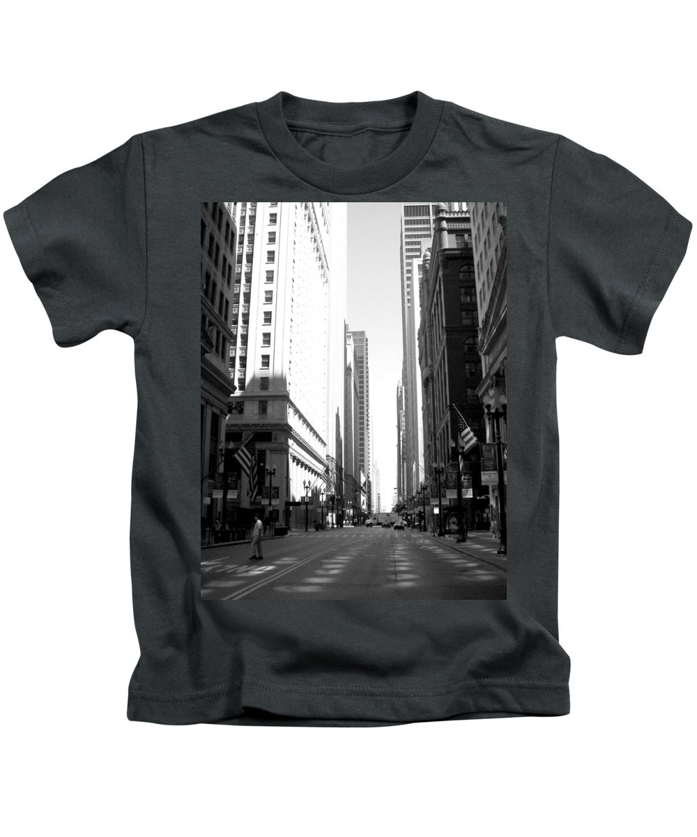 Chicago Kids T-Shirt featuring the photograph Chicago Street With Flags B-w by Anita Burgermeister
