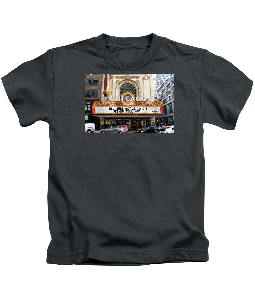 Chicago Theater Kids T-Shirt featuring the photograph Chicago Theater Marquee Jethro Tull Signage by Thomas Woolworth