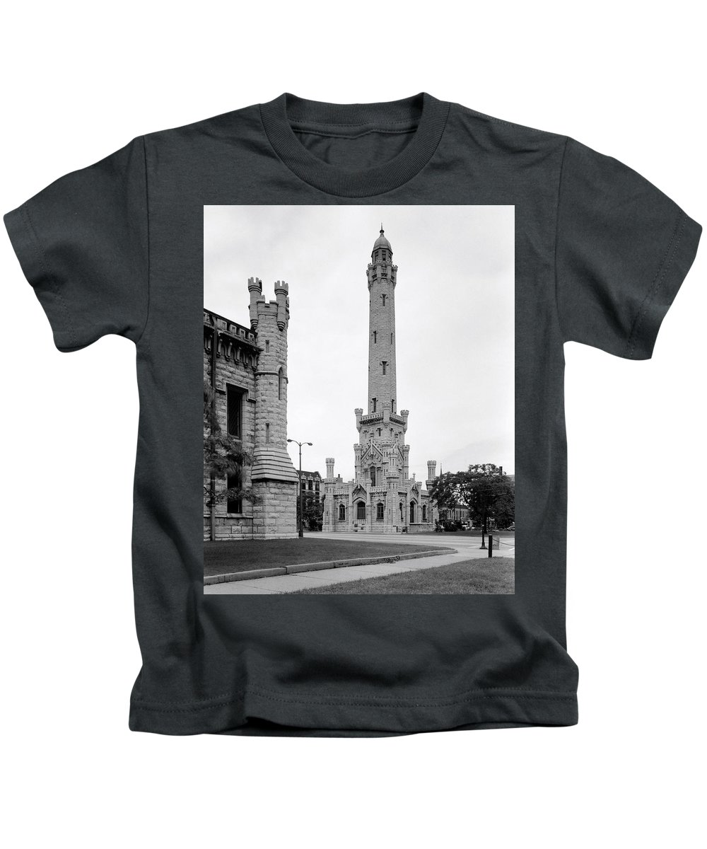 Chicago Kids T-Shirt featuring the photograph Chicago Water Tower 1933 by Daniel Hagerman
