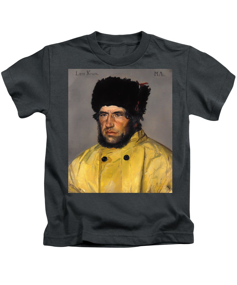 Painting Kids T-Shirt featuring the painting Chief Lifeboatman Lars Kruse by Mountain Dreams