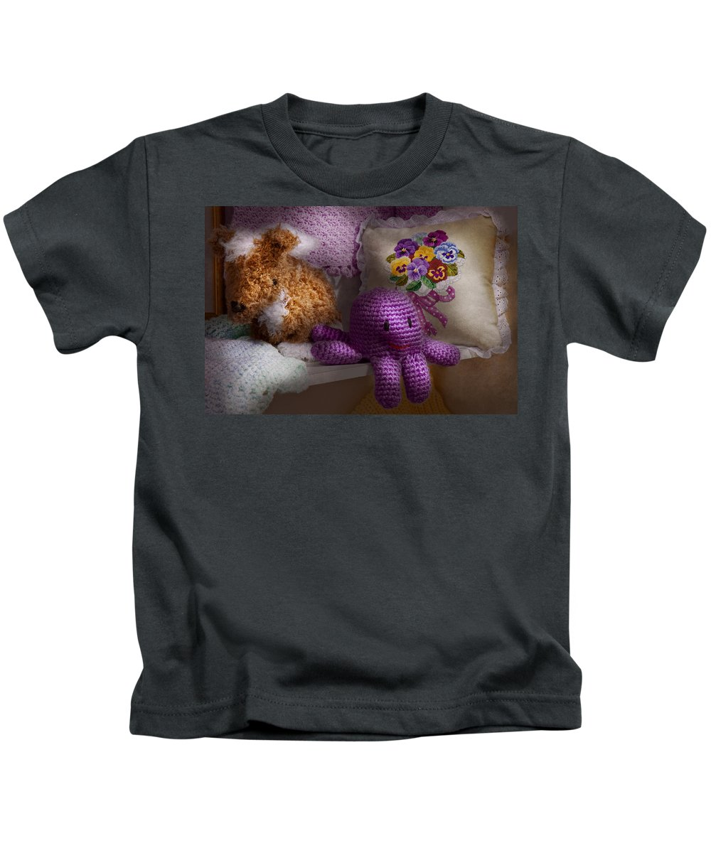 Toy Kids T-Shirt featuring the photograph Child - Toy - Octopus In My Closet by Mike Savad