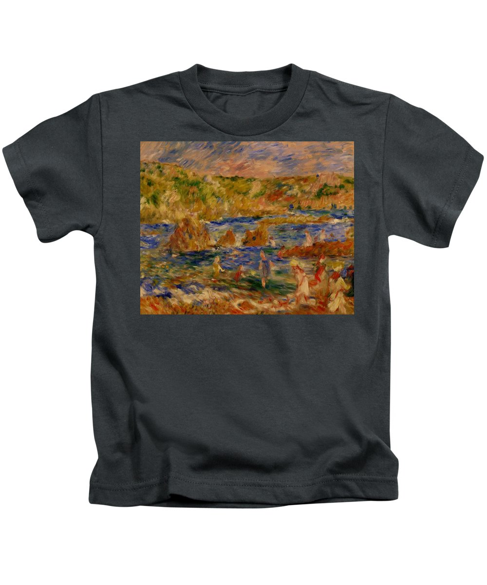 Children Kids T-Shirt featuring the painting Children On The Beach At Guernsey by Renoir PierreAuguste