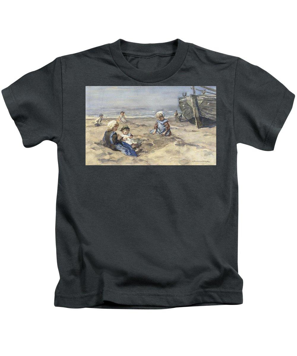 Johannes Evert Hendrik Akkeringa (1861-1942) Children On The Beach Kids T-Shirt featuring the painting Children On The Beach by MotionAge Designs