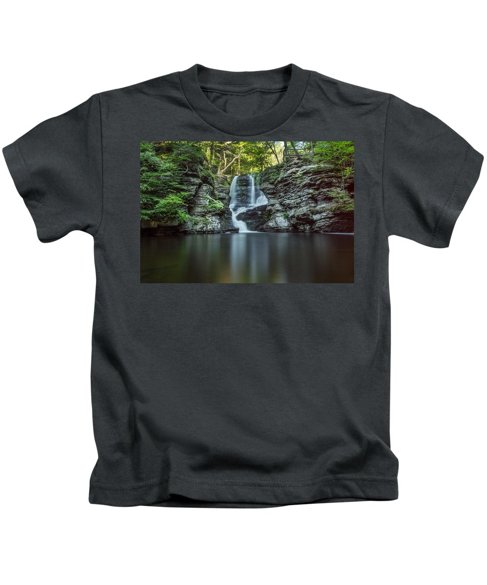 Waterfall Kids T-Shirt featuring the photograph Child's Park Waterfall 2 by Eleanor Bortnick
