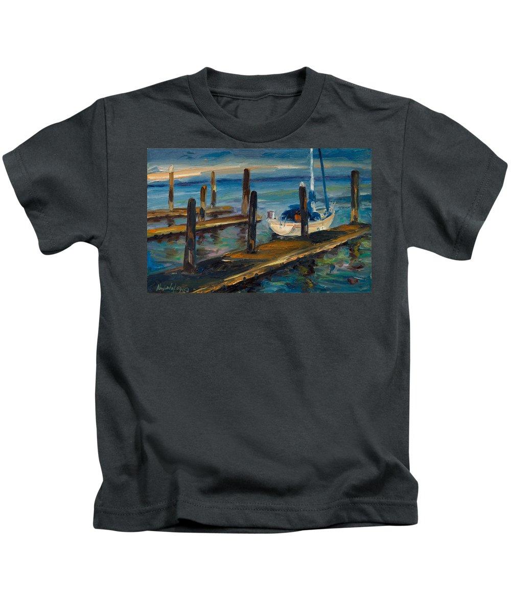 Marina Kids T-Shirt featuring the painting China Basin Docks by Rick Nederlof