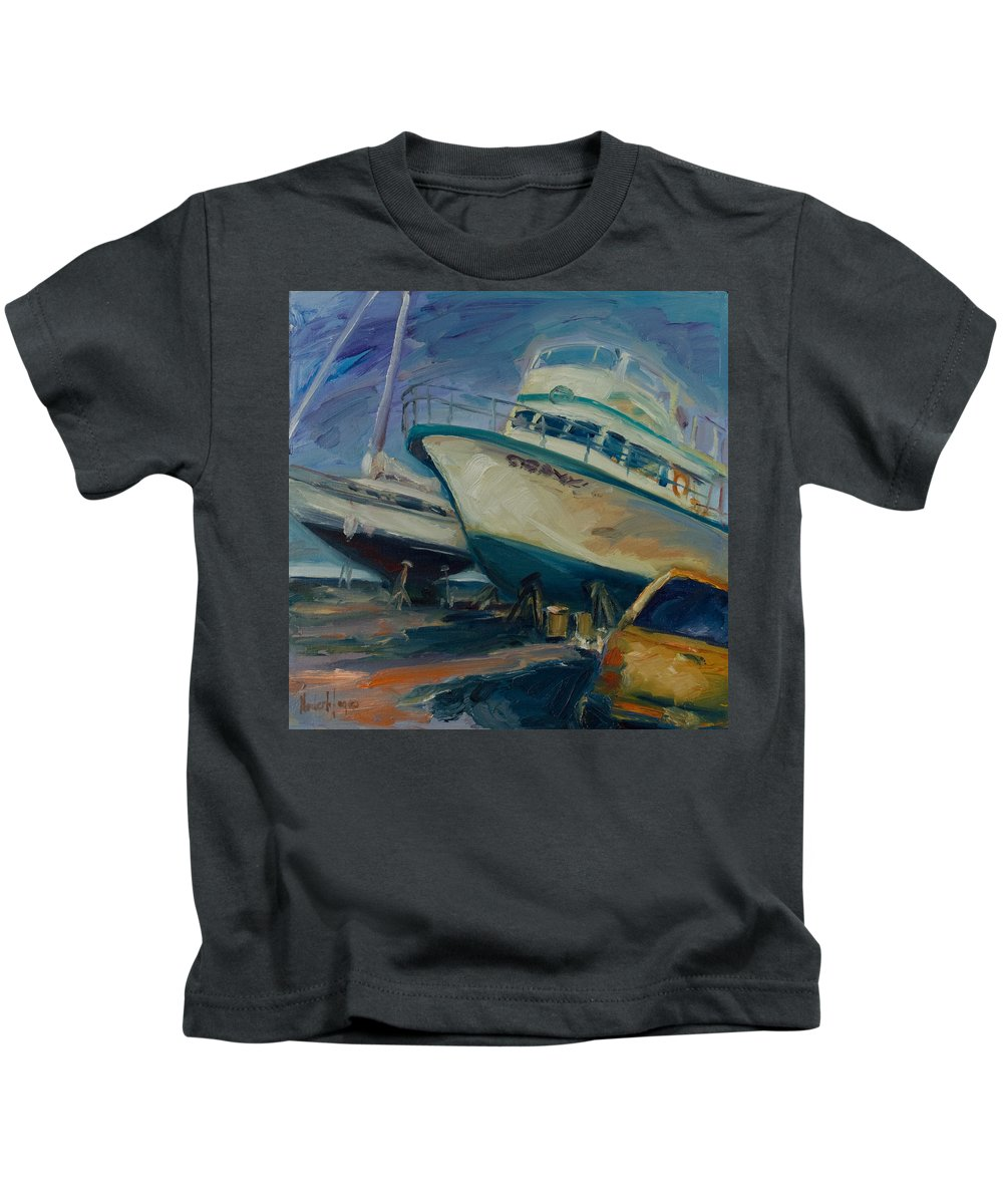 Boats Kids T-Shirt featuring the painting China Basin by Rick Nederlof