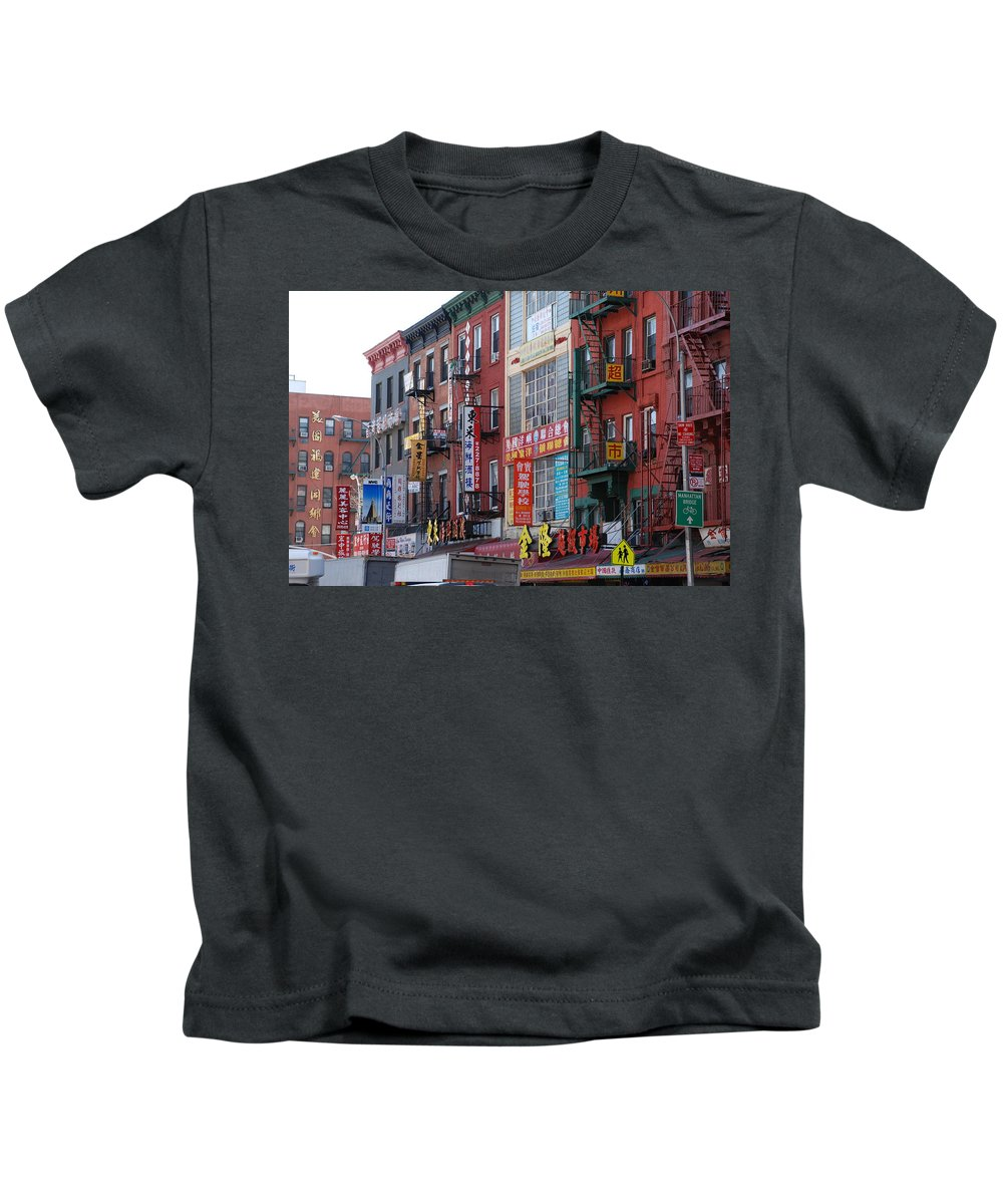 Architecture Kids T-Shirt featuring the photograph China Town Buildings by Rob Hans