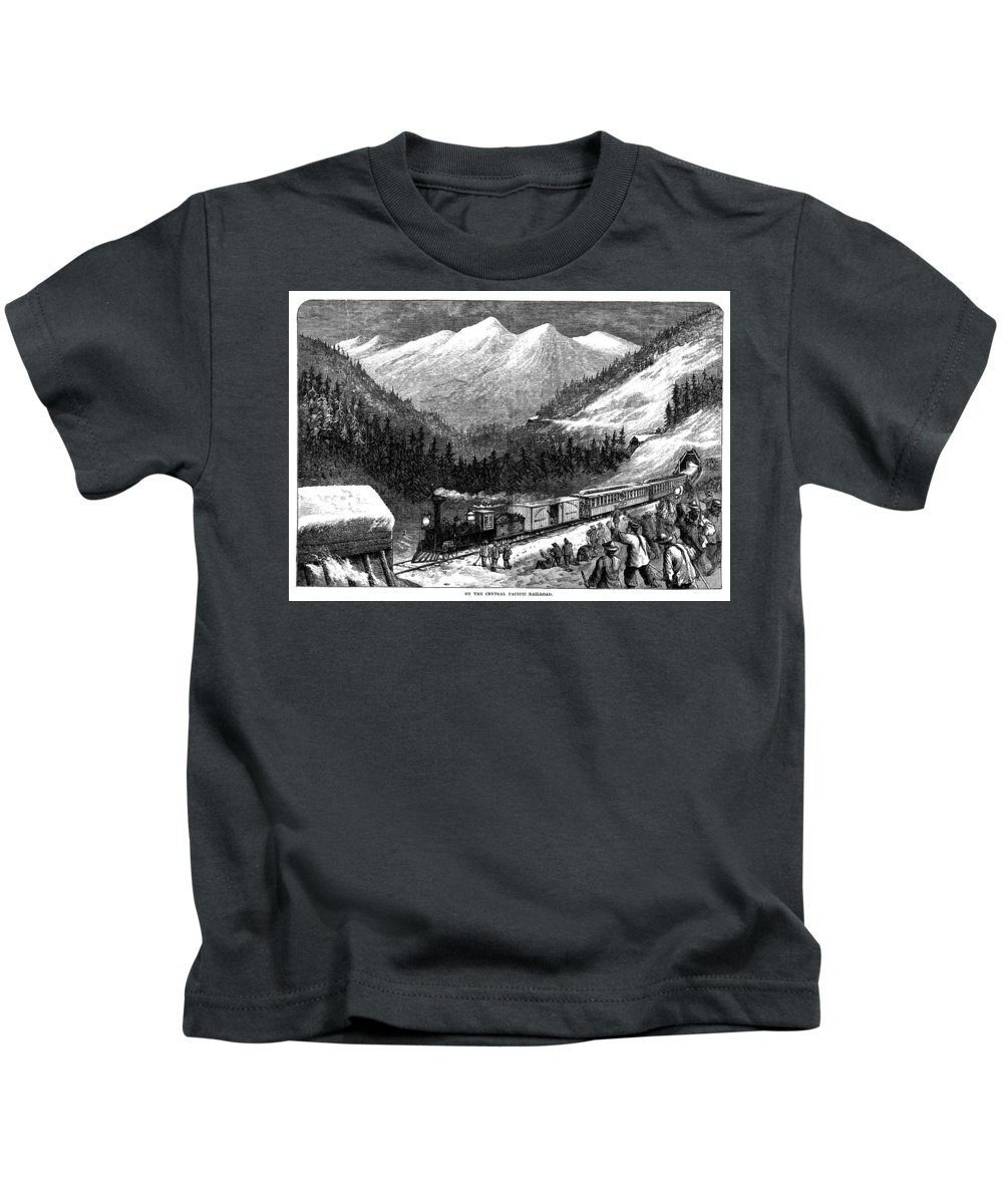 1868 Kids T-Shirt featuring the photograph Chinese Laborers, 1868 by Granger