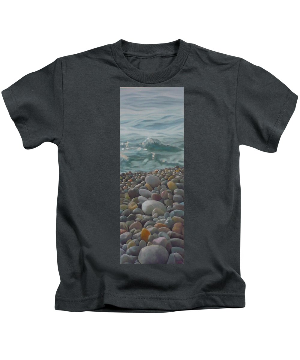 Sea Oil Pebbles Beach Stones Kids T-Shirt featuring the painting Chios Pebbles by Caroline Philp