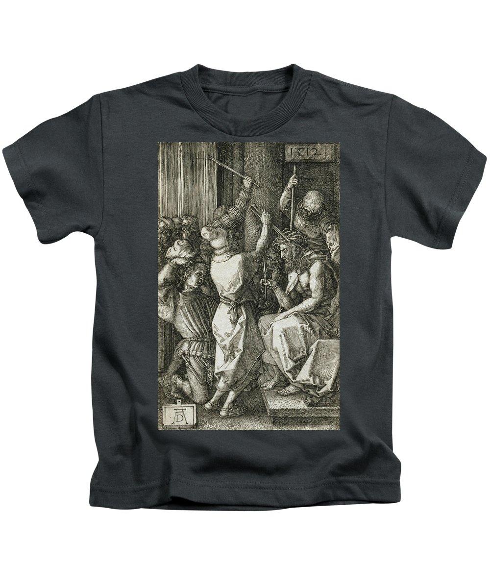 Albrecht Durer Kids T-Shirt featuring the relief Christ Crowned With Thorns by Albrecht Durer