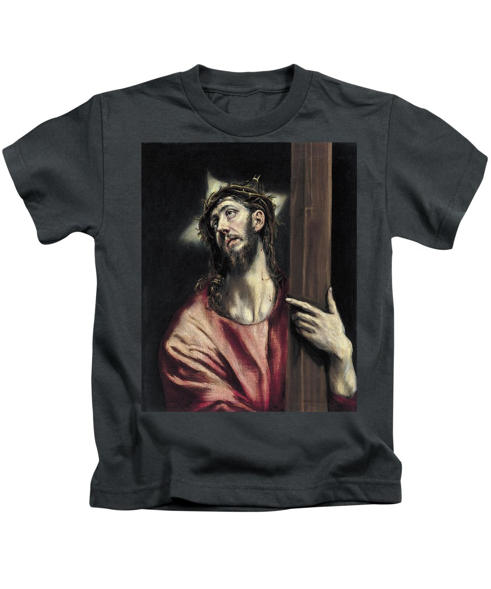 Christ Kids T-Shirt featuring the painting Christ With The Cross by El Greco