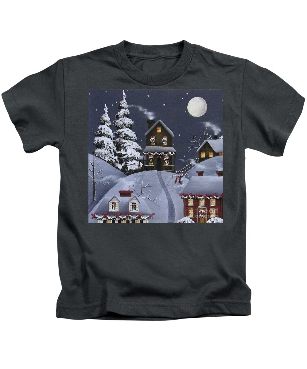 Art Kids T-Shirt featuring the painting Christmas Eve by Catherine Holman