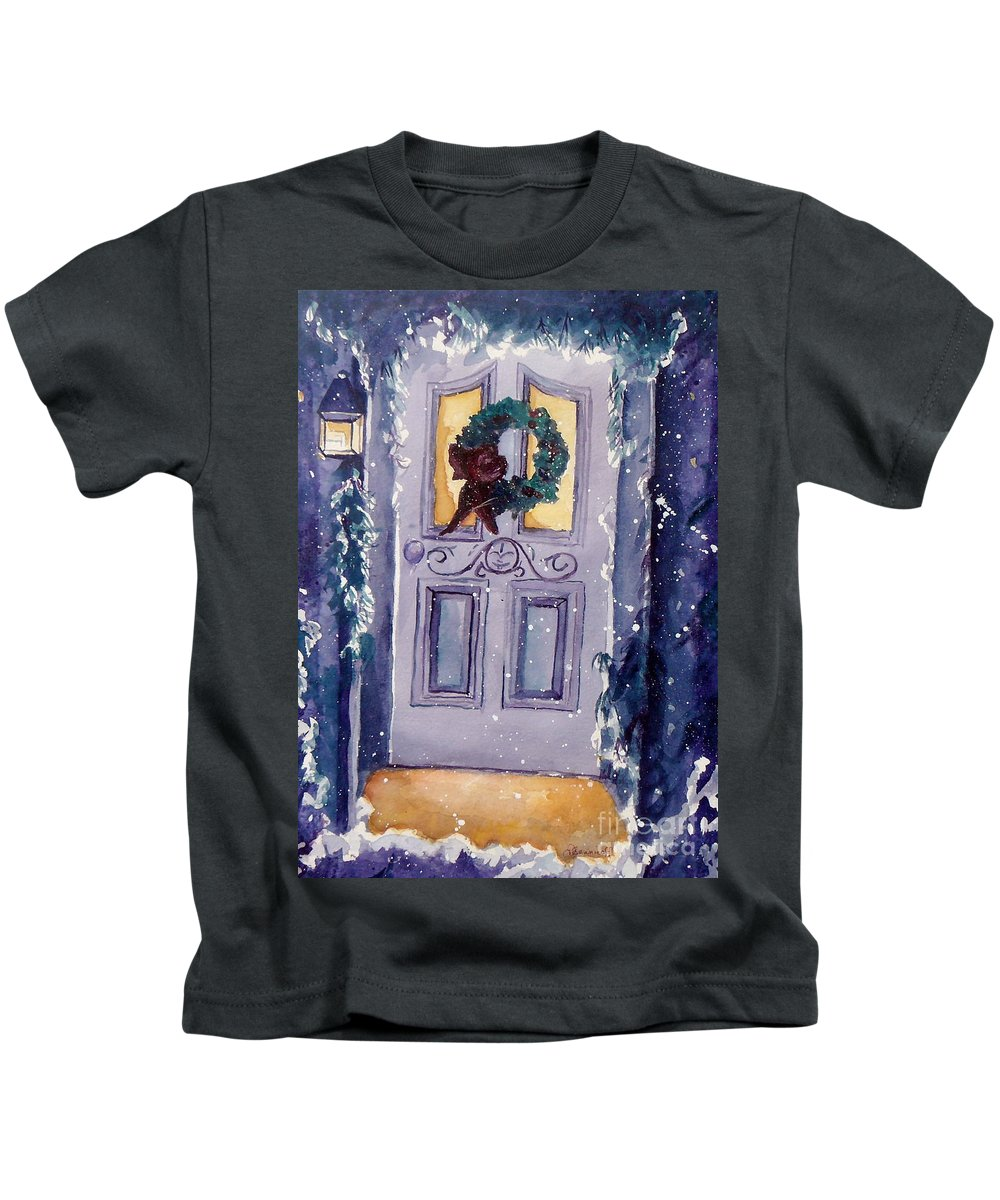 Holiday Scene Kids T-Shirt featuring the painting Christmas Eve by Jan Bennicoff