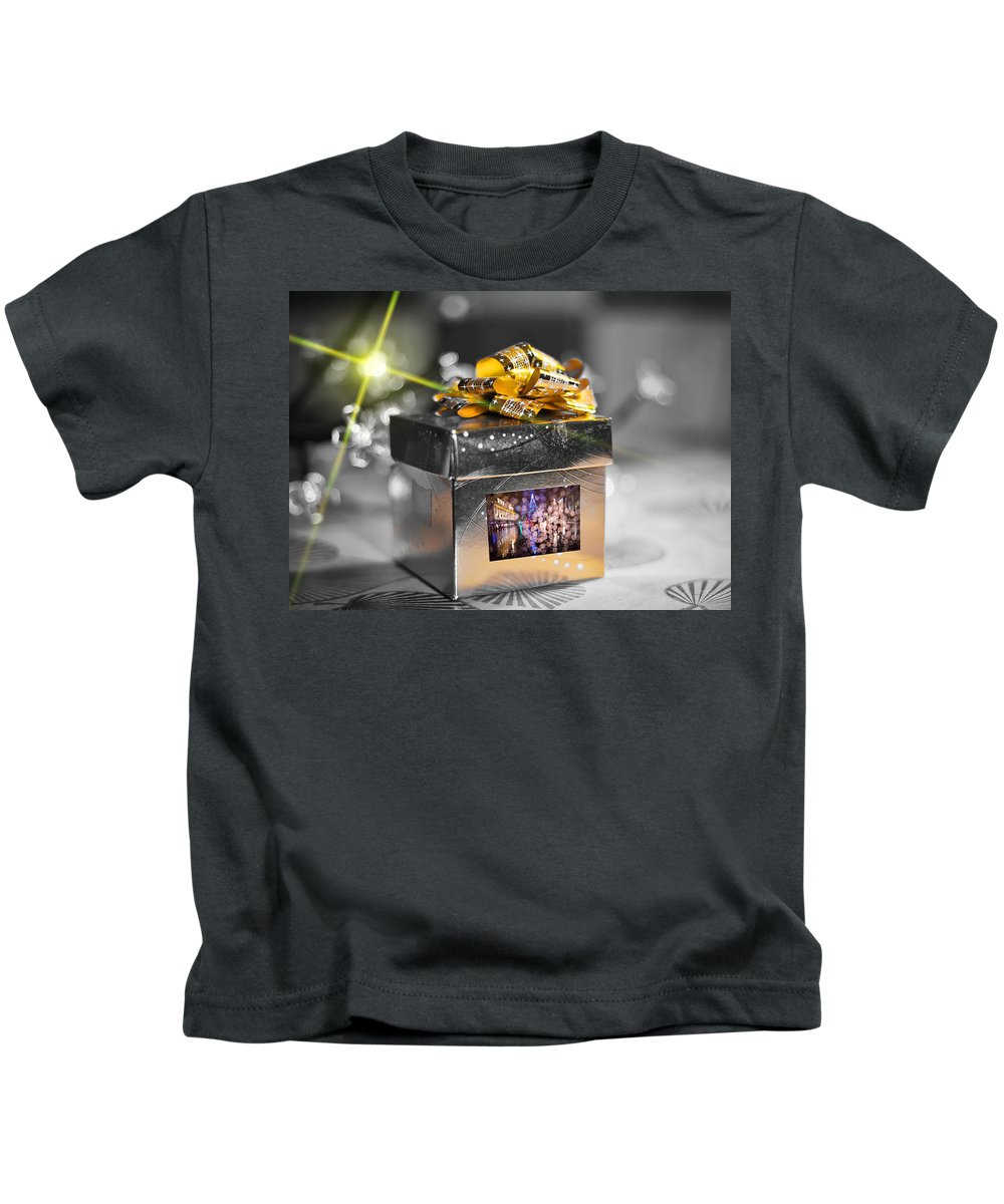 Merry Christmas And Happy New Year Kids T-Shirt featuring the photograph Christmas Golden Gift by Alex Art and Photo
