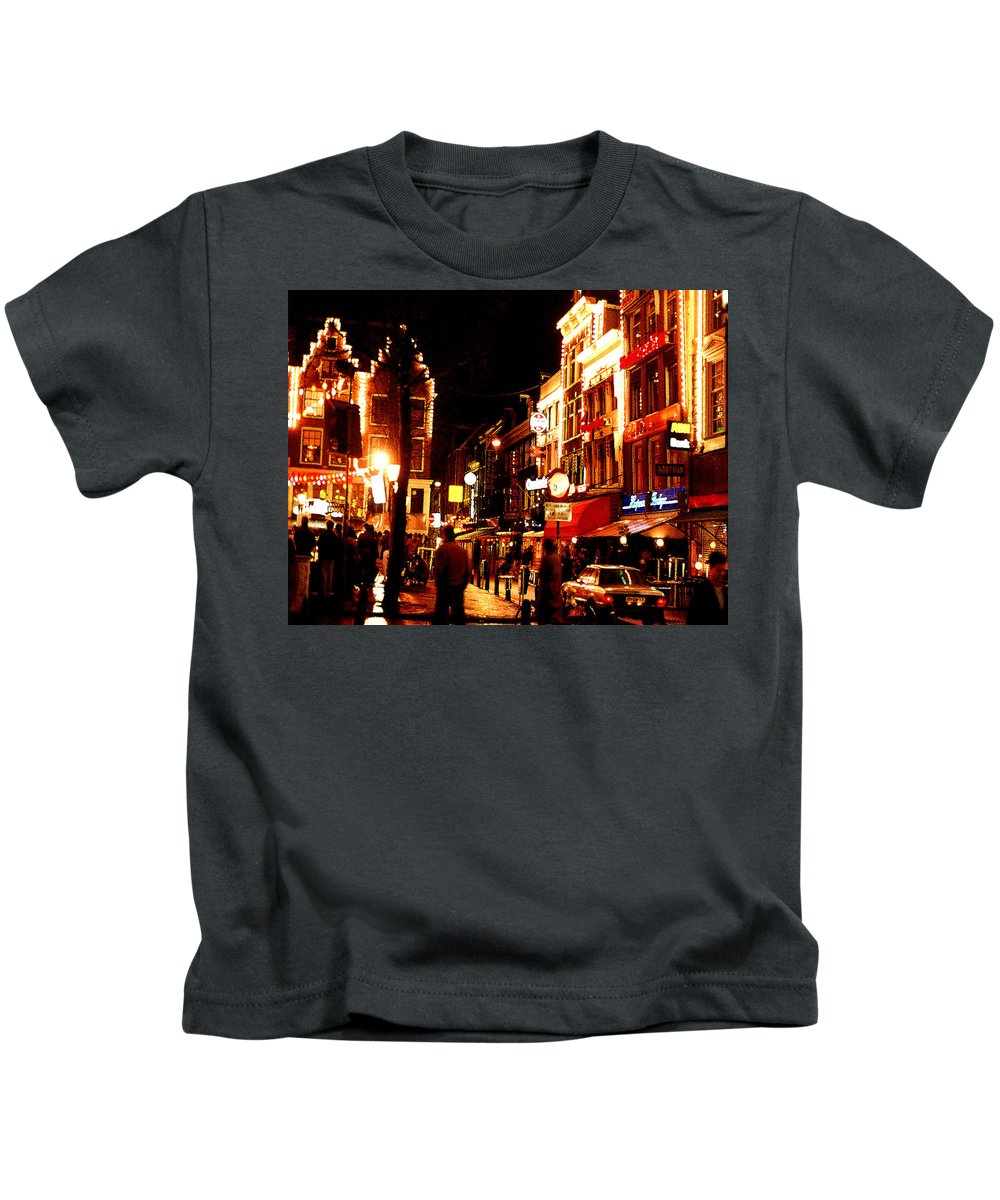 Night Kids T-Shirt featuring the photograph Christmas In Amsterdam by Nancy Mueller