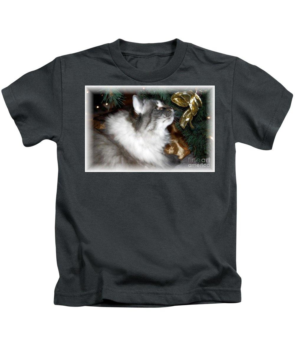 Christmas Kids T-Shirt featuring the photograph Christmas Kitty by Debbi Granruth