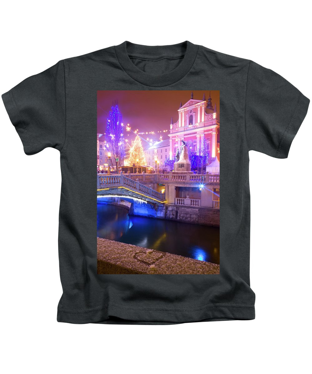 Ljubljana Kids T-Shirt featuring the photograph Christmas Lights In Preseren Square In Ljubljana by Ian Middleton