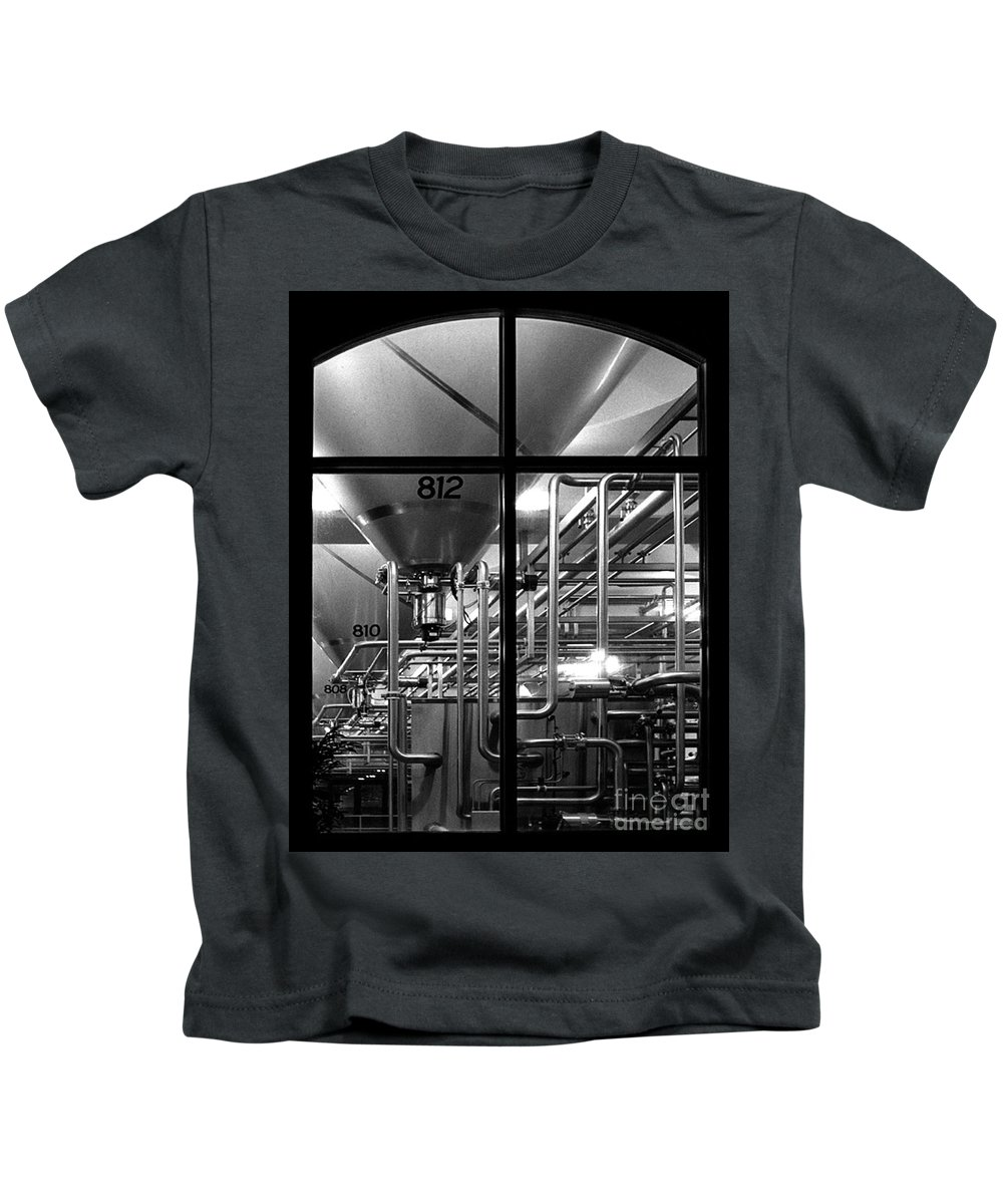 Black And White Kids T-Shirt featuring the photograph Church Of Modern Man by Peter Piatt