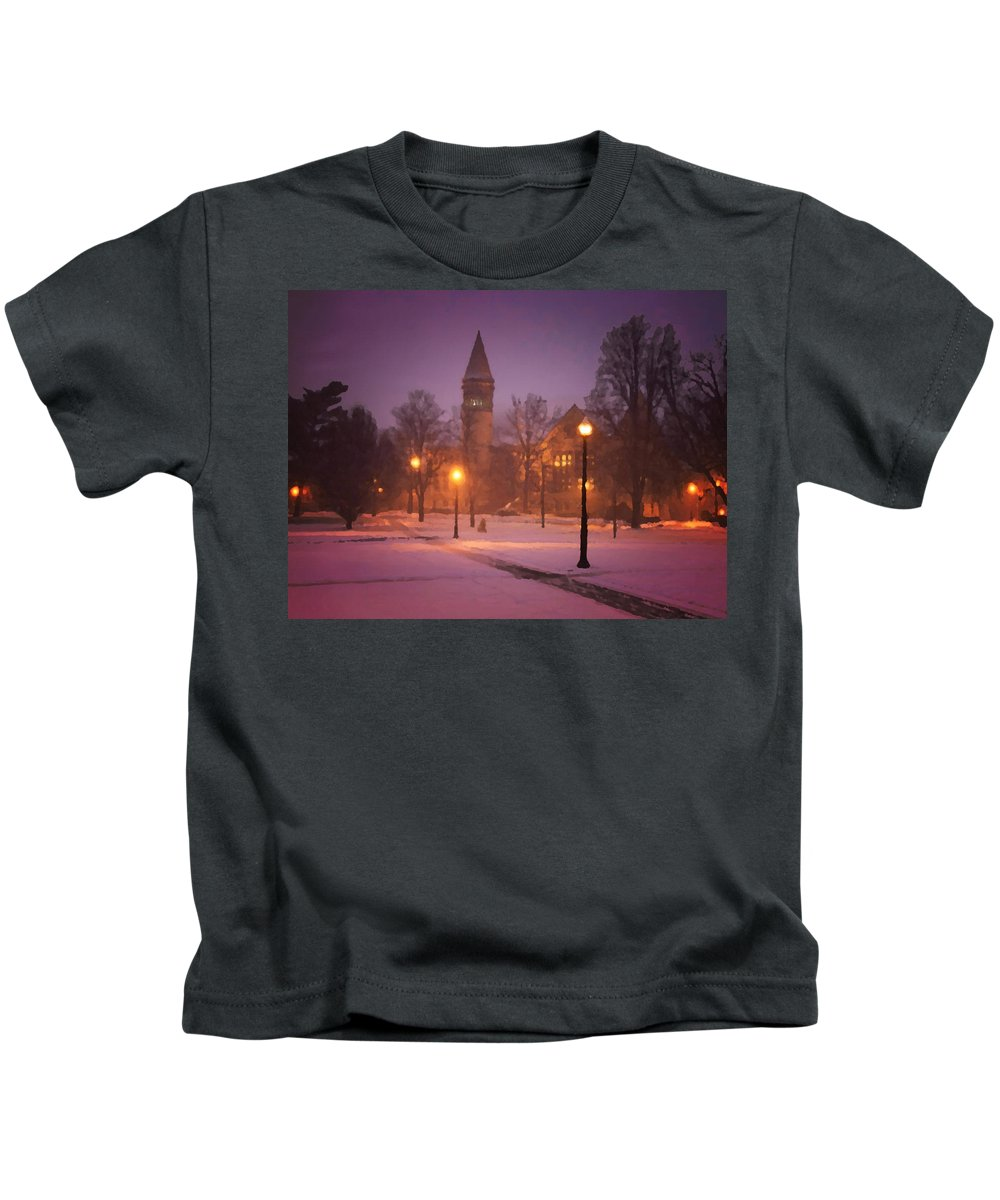 Snowy Church Kids T-Shirt featuring the painting Church Sidewalk by Dennis Buckman