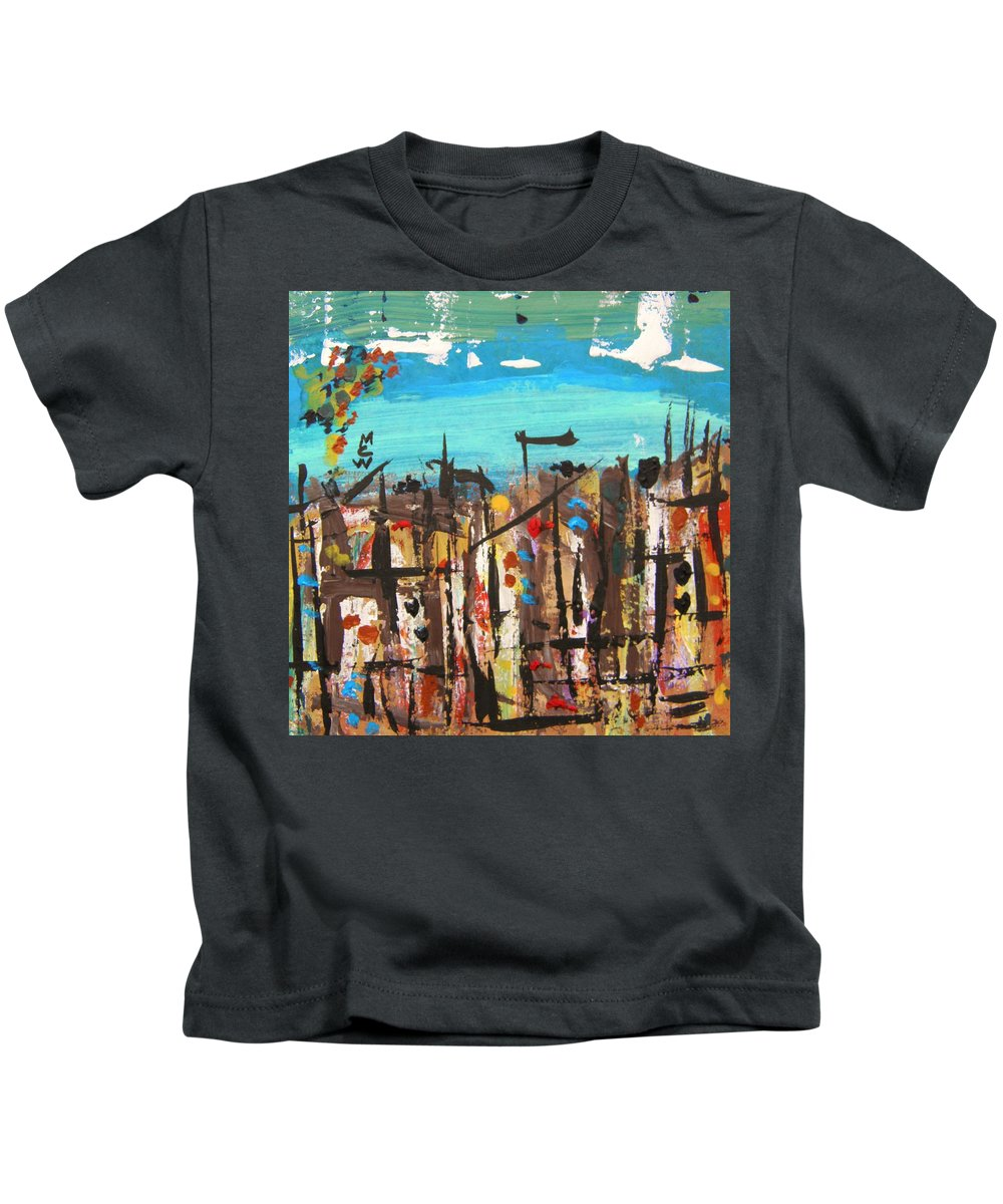 Acrylic Kids T-Shirt featuring the painting City Chaos by Mary Carol Williams