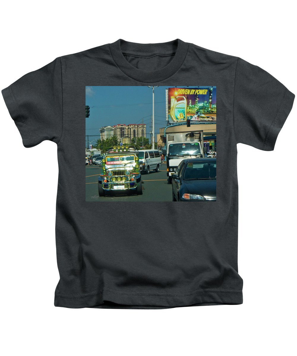 Philippines Kids T-Shirt featuring the photograph City Driving by Betsy Knapp