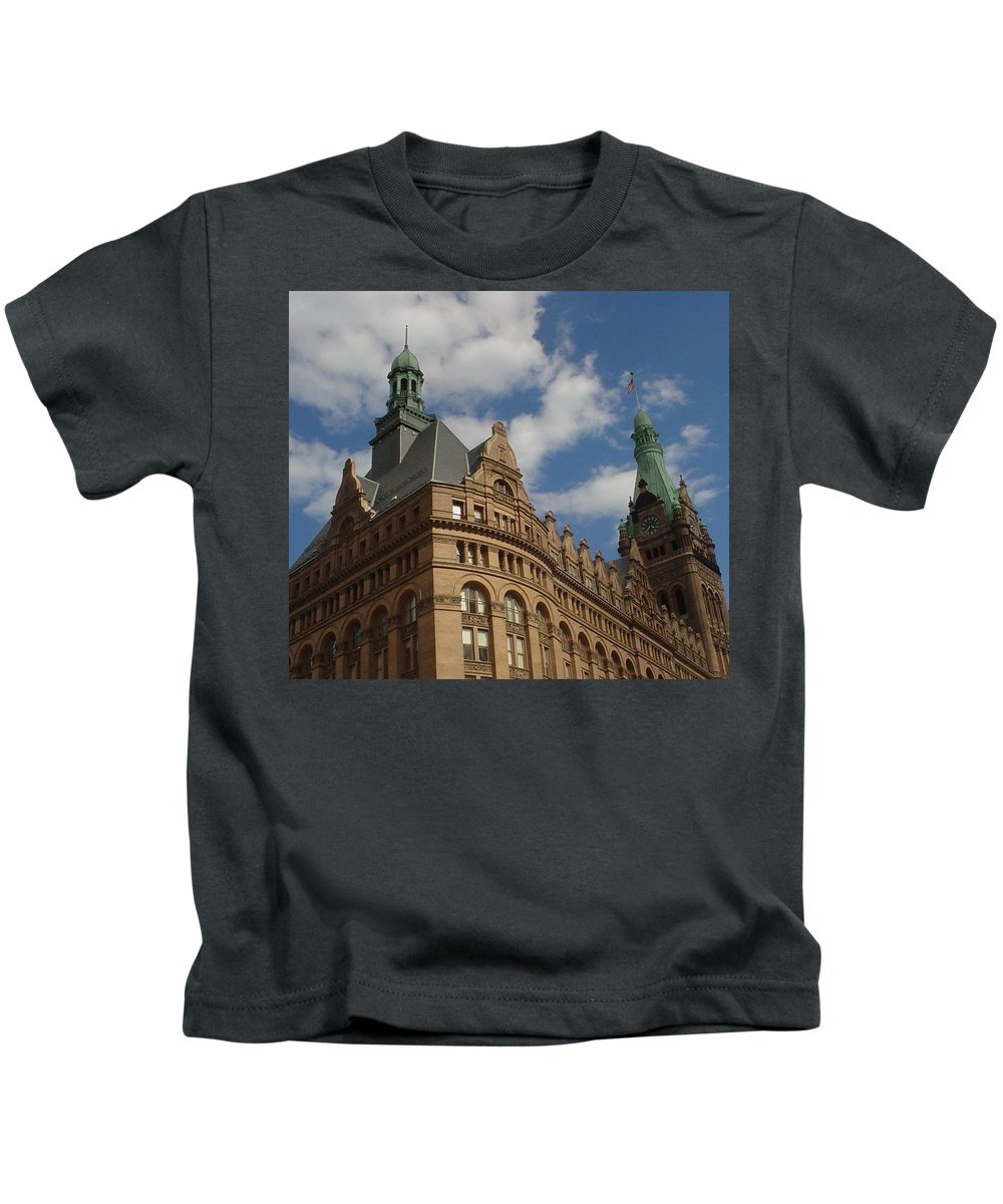 Milwaukee Kids T-Shirt featuring the photograph City Hall Roof And Tower by Anita Burgermeister