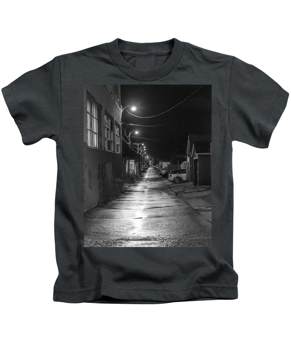 Night Kids T-Shirt featuring the photograph City Lane At Night by Rick Shea